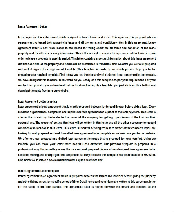 Lease Agreement Letter Doc Free Download