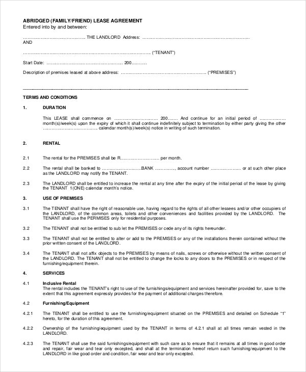 Family Rent Agreement Letter PDF Free Download