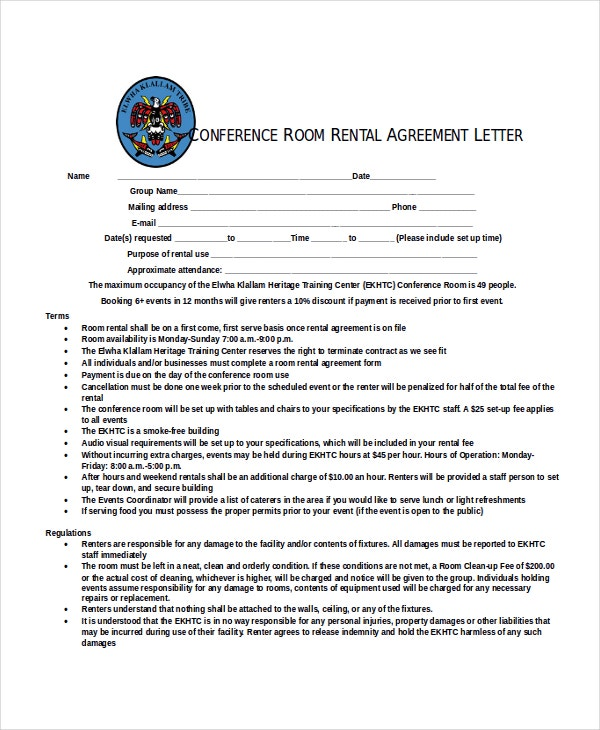 Conference Room Rental Agreement Letter