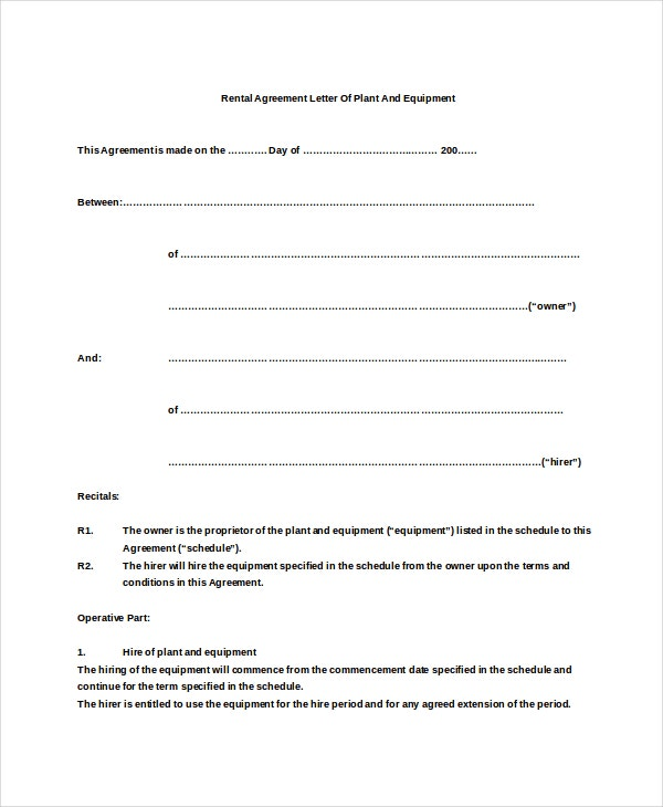 Rental Agreement Letter 8 Word PDF Documents Download – Equipment Rental Agreement