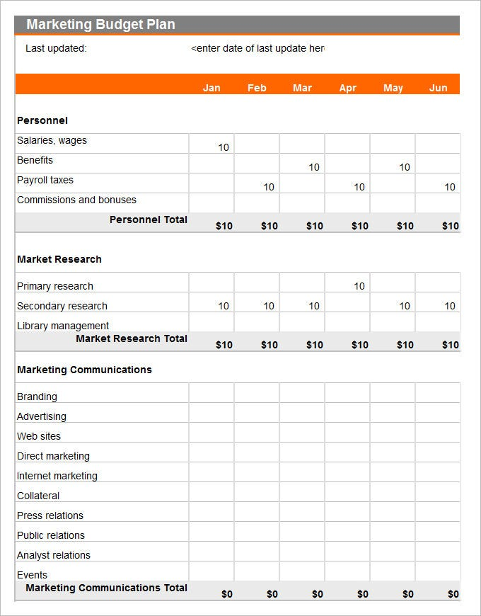 The Marketing Budget Plan Excel Template Has A Last Updated Feature For Better Tracking Apart From Month Wise Expenditures Personnel And