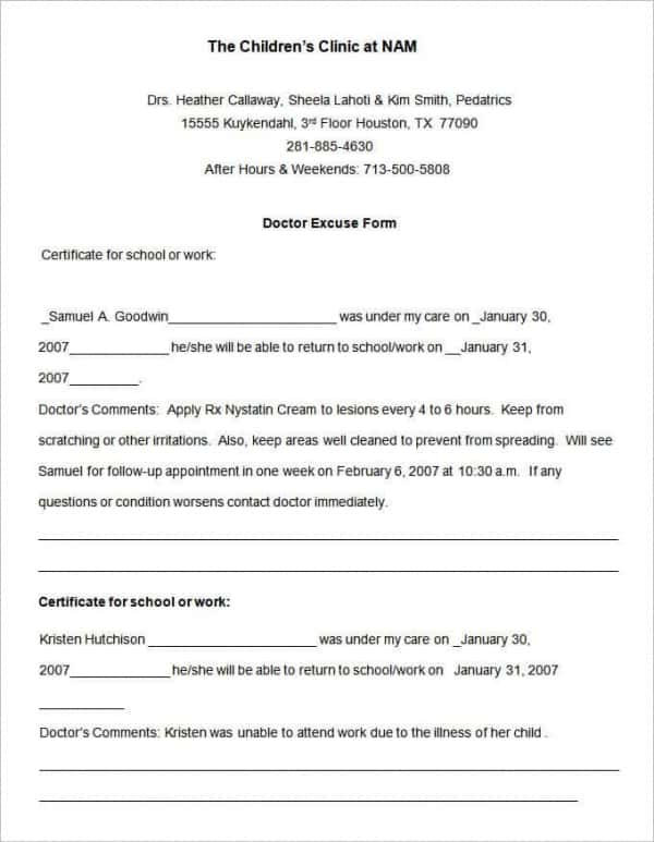 Children Clinic Doctors Note Template