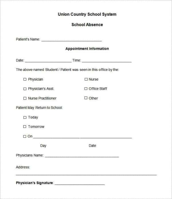school absence note template free 28 doctors note templates pdf doc free premium