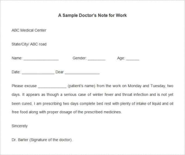 sample doctors note template for work