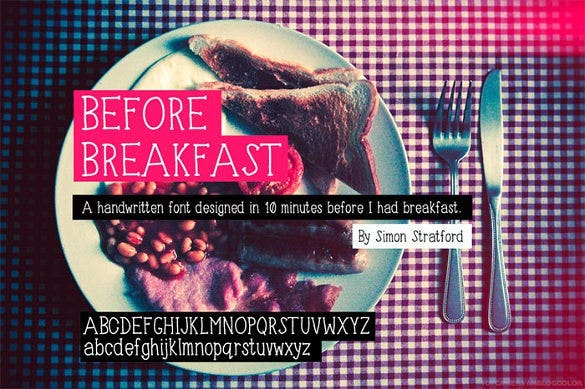 before breakfast – infographic font