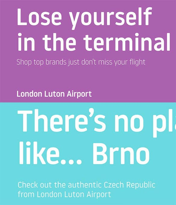 london luton airport font