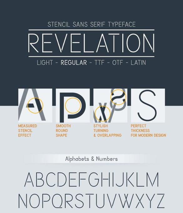 revelation infographic font