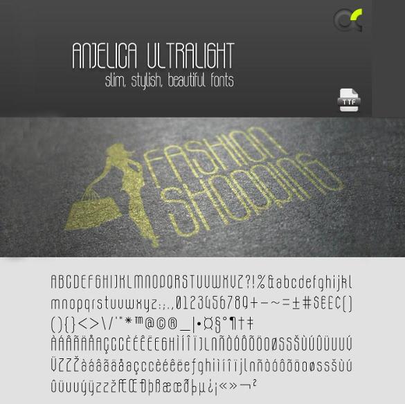 anjelica ultralight infographic font