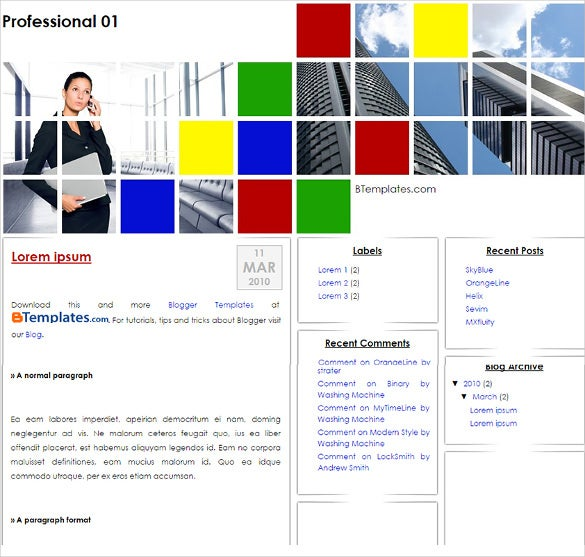 colorful professional blogger template