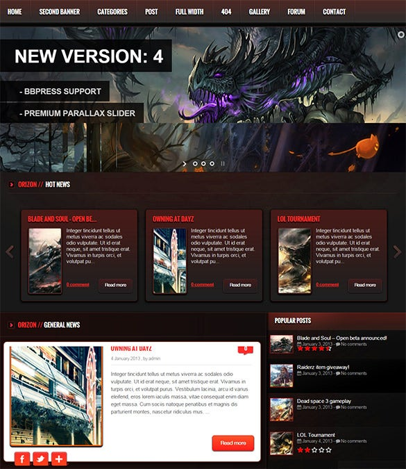 the gaming template wp version