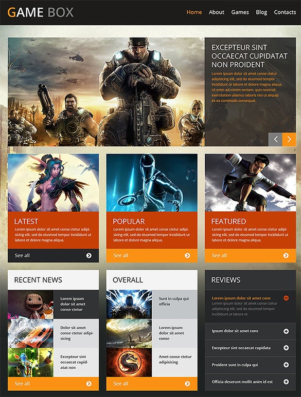 wordpress gaming template