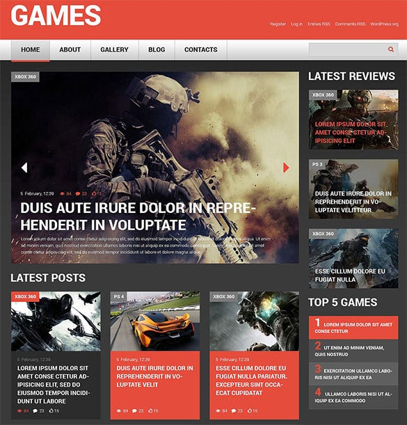 esponsive wordpress theme for game portal