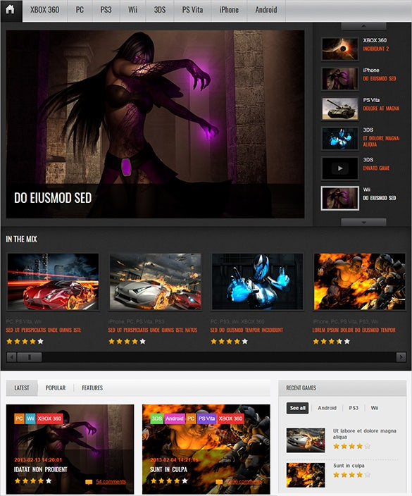 premium wordpress theme for gamin