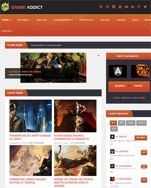 game addict gaming wordpress theme