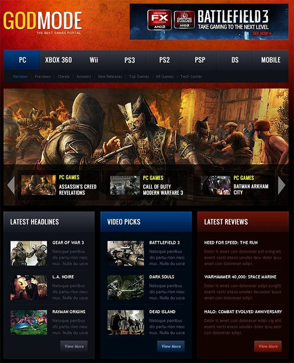 game portal wordpress templat