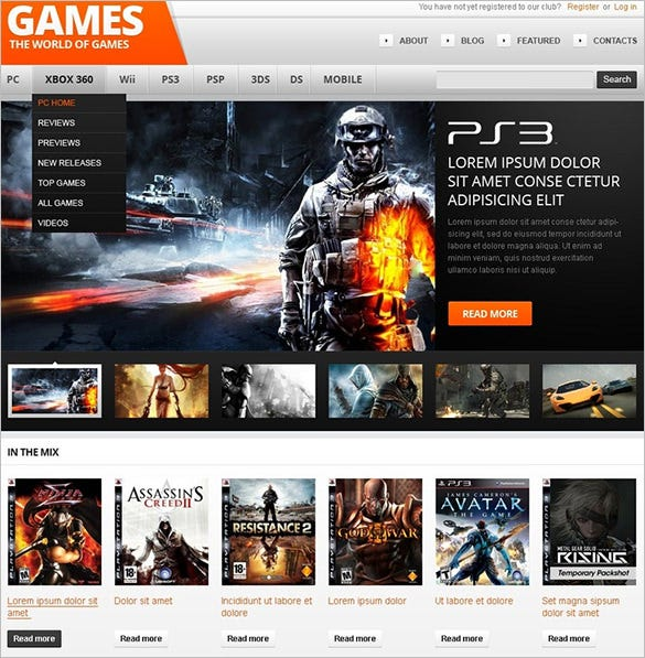 games wordpress themm
