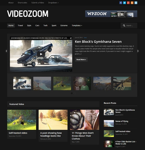 dark background youtube wordpress theme