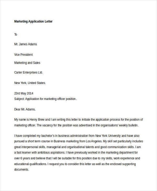 61 Free Application Letter Templates – Letter of Application