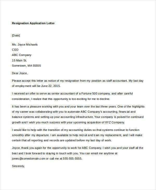 Application letter template – Letter of Application