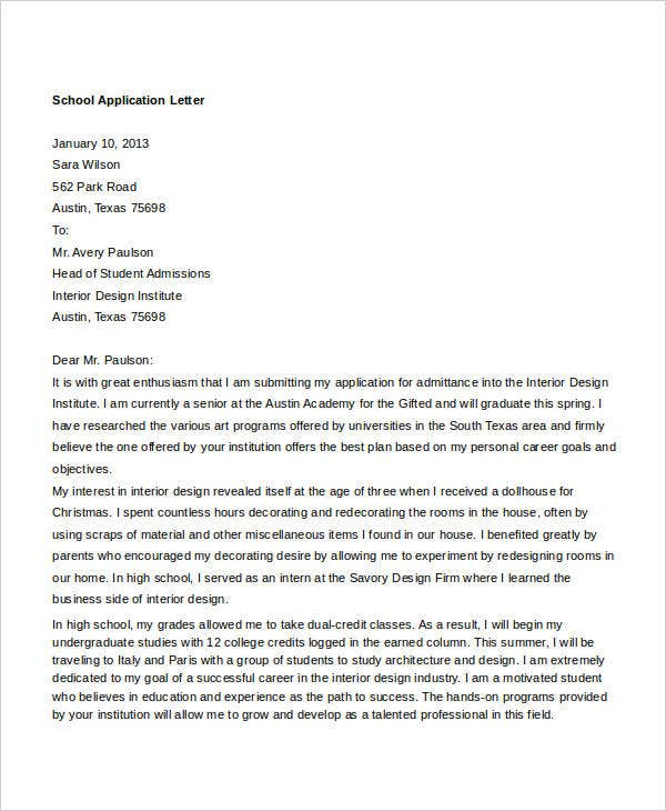 Admission application letter university sample