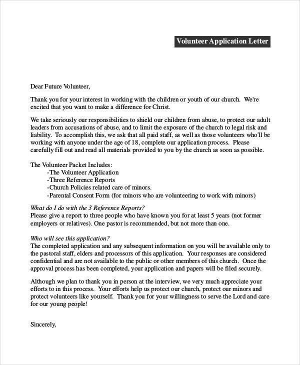 Elegant Volunteer Application Letter. Radiantchristianlife.org On Letter Of Application
