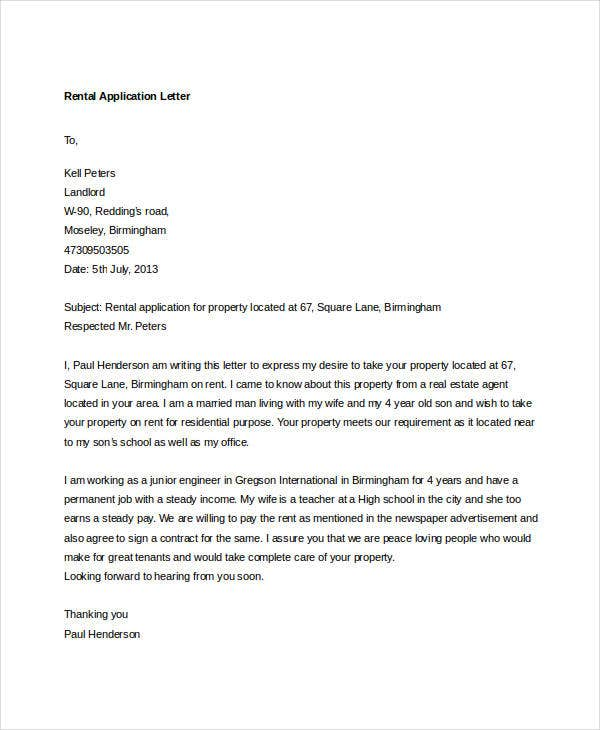 how to write a cover letter for a rental application 94 best free application letter templates samples pdf