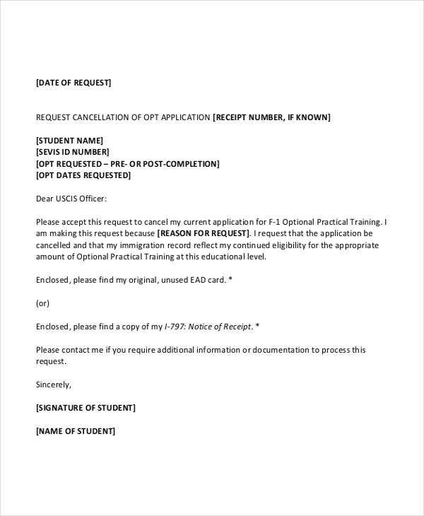 application cancellation letter templates