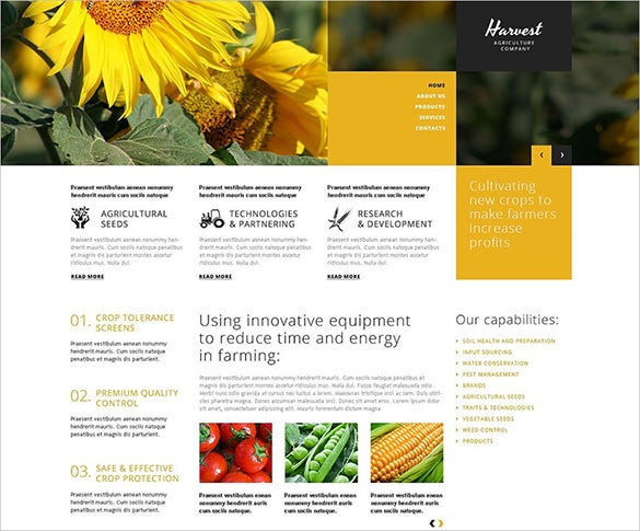 crop production agriculture wordpress theme