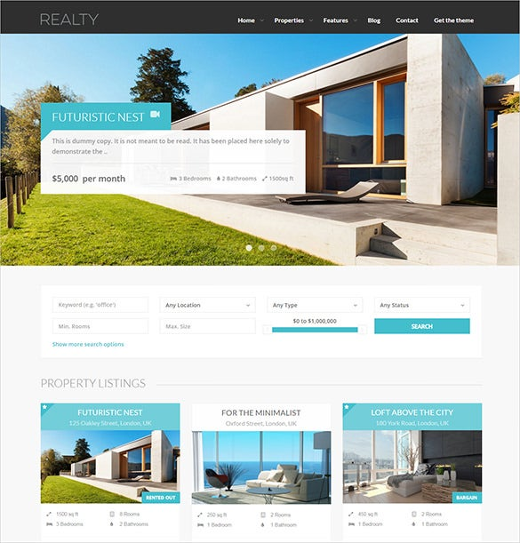 responsive real estate wordpress theme