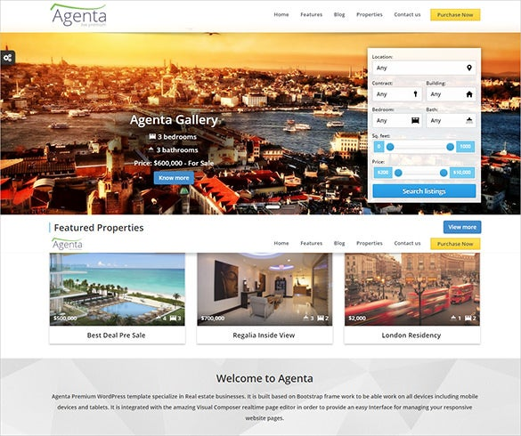 rsponsive real estate wordpress theme