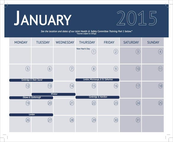 2015 Training Calendar Template  Monthly Planner Template Word