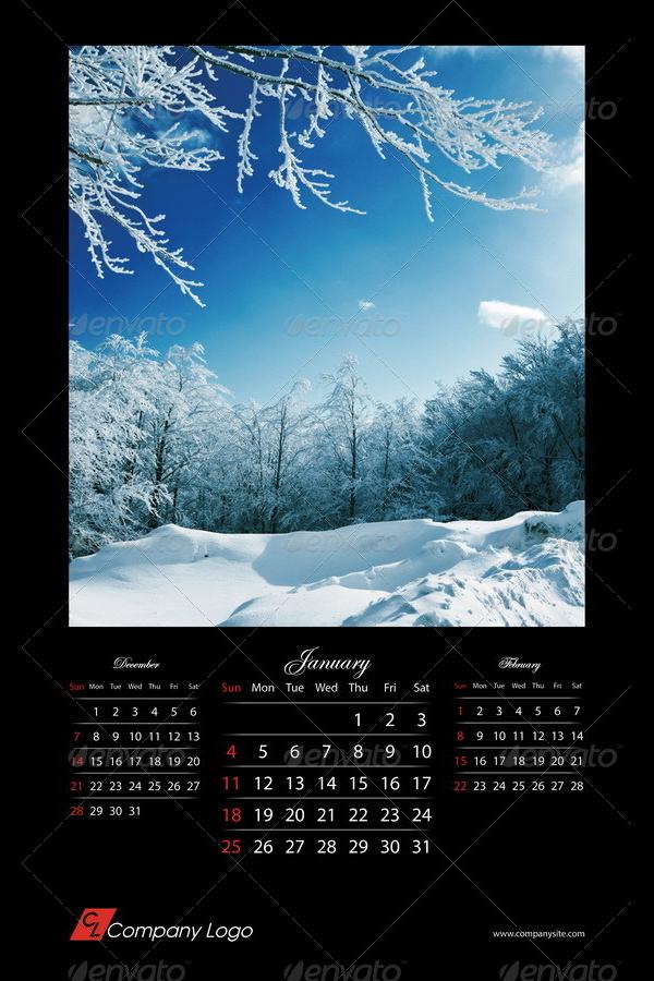 2015 black calendar template indd format