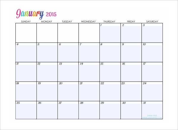 january 2015 calander template pdf format download