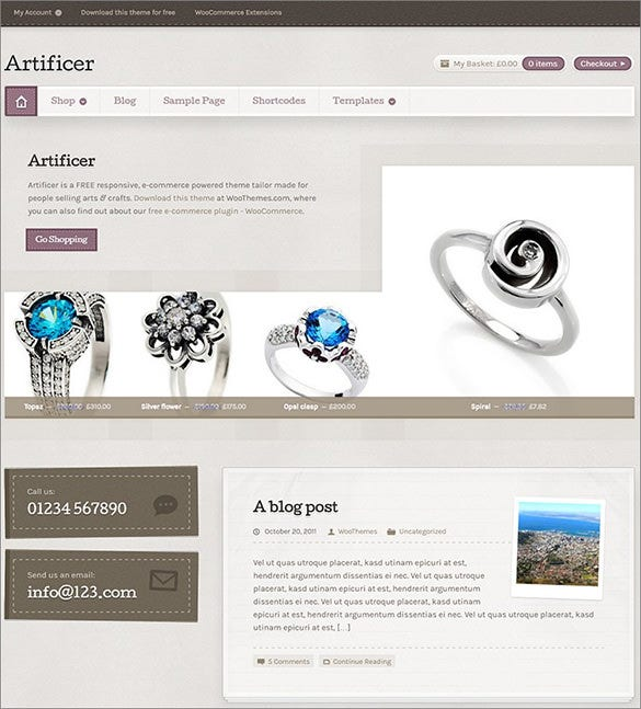 free artificial jewelry wordpress theme