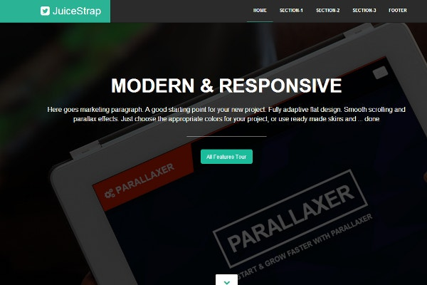 juicestrap flat parallax bootstrap theme