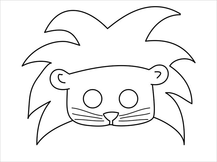 Animal mask template animal templates free premium for Lion mask coloring page