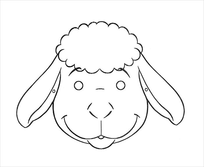 Animal mask template animal templates free premium for Lamb template to print