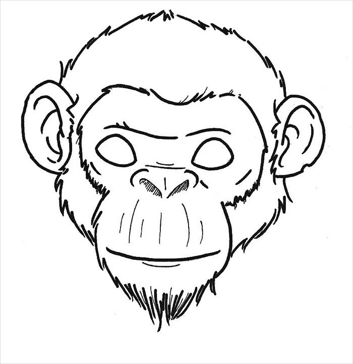 Chimpanzee Mask Template  Face Mask Templates Printable