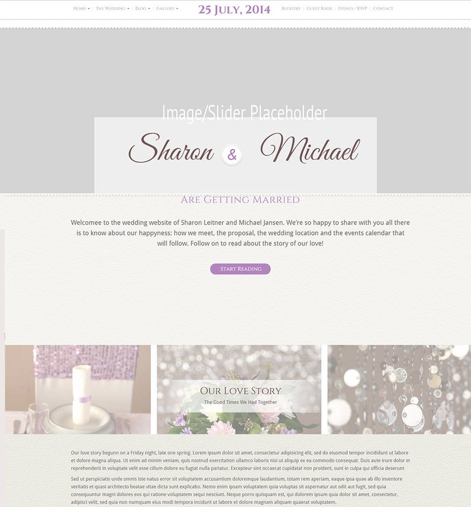 Unique Wedding WP Theme