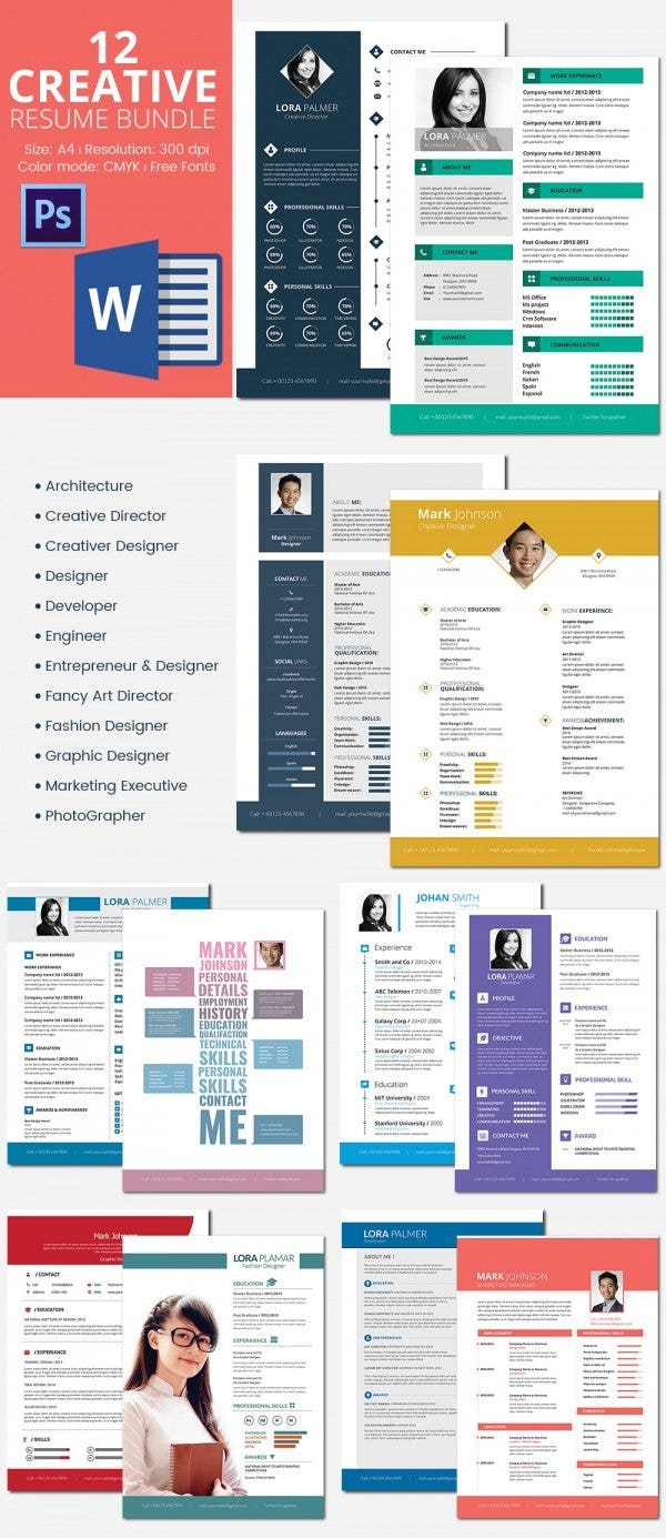 12-creative-resumes-bundle