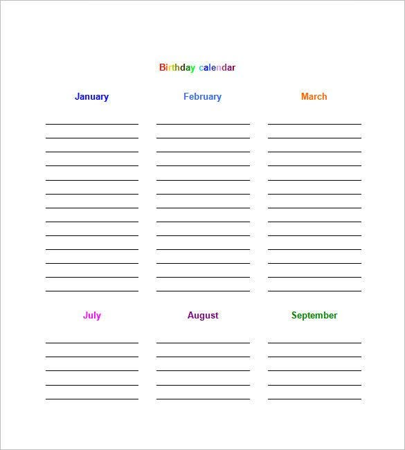 Birthday calendar 43 calendar template free premium templates this new birthday calendar template is color coded for each month comes with organized field spaces and is editable on all versions of ms word saigontimesfo