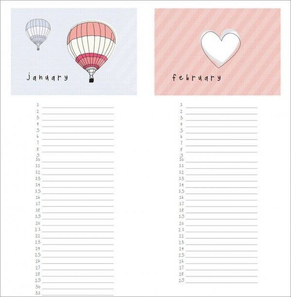 photograph relating to Free Printable Perpetual Birthday Calendar Template named 46+ Birthday Calendar Templates - PSD, PDF, Excel Totally free