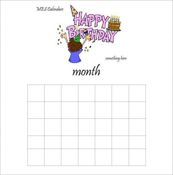 46  birthday calendar templates