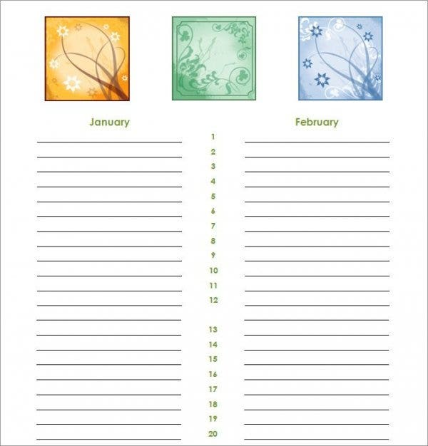 calendar template for birthday 211