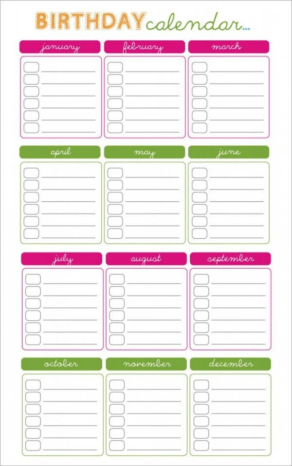 free birthday calendar template111