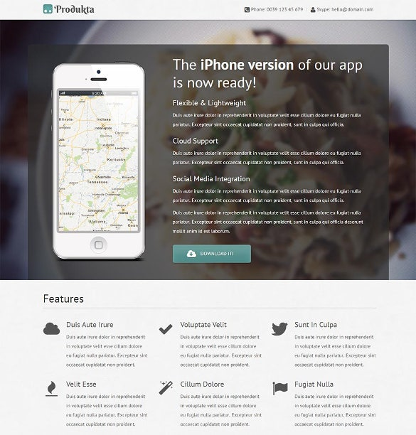 free mobile app store html5 template