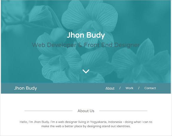 free single page personal portfolio html5 template