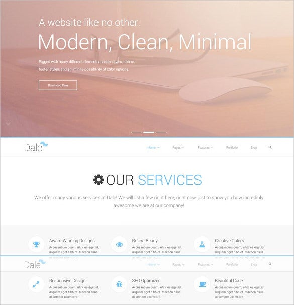 clean minimal html5 website template