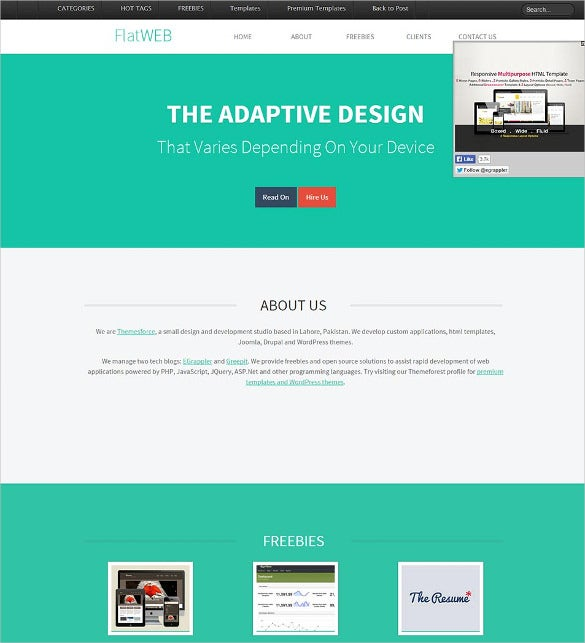 free flat web responsive website html5 template