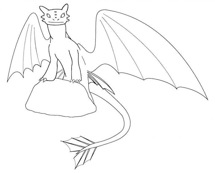 simple outline of dragon coloring page